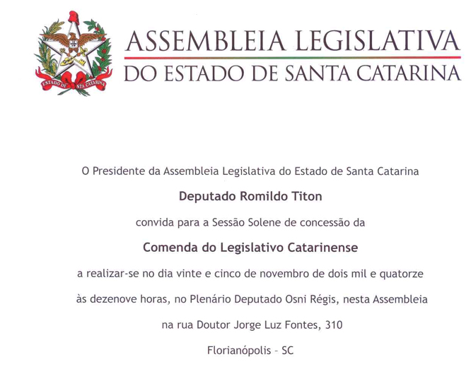 Convite Comenda do Legislativo Catarinense